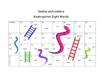 Snakes and Ladders Sight Words Game