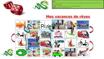 Snakes and Ladders game on holiday vocabulary in French