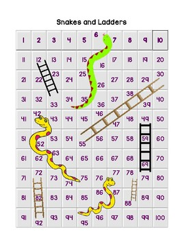 Snakes and Ladders with 100 Chart (YES, I said it, with a