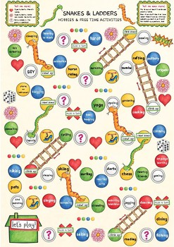 Snakes and ladders game - Speaking about hobbies + free time activities, ESL
