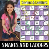 Snakes and ladders game for subtraction without regrouping