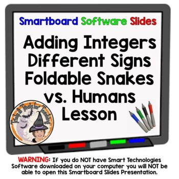 Snakes vs. Humans Adding Integers Different Signs Smartboard Foldable Notes ALL