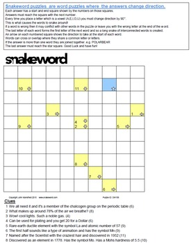 Snakeword - Chemical Elements Puzzle 1