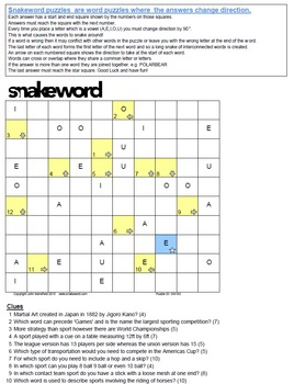 Snakeword - Sports Puzzle 2