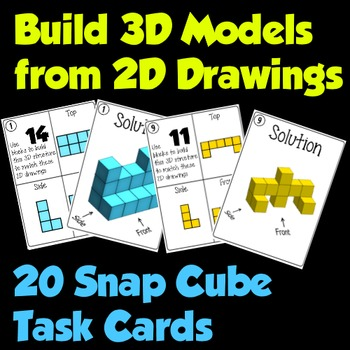 Snap Cube 3D Models from 2D Drawings - 20 Task Card Challenges