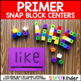 Math Center, Sight Word Snap Block Counting Center, Primer