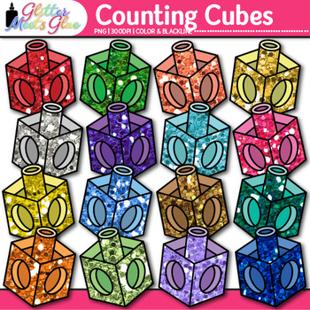 Rainbow Counting Cube Clip Art {Counting and Sorting Manip