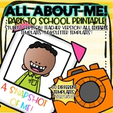 Student Snap Shots! Get to Know You Printable Pages! Editable Pages