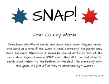 Snap! Sight Word Game First 100 Fry Words