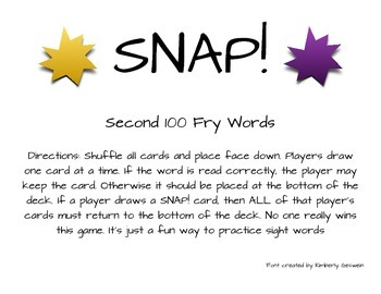 Snap! Sight Word Game Second 100 Fry Words