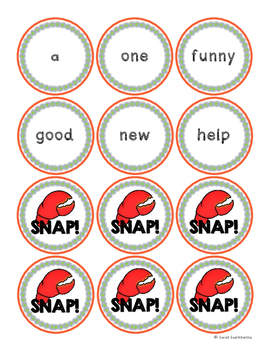 Snap! High Frequency Sight Word Game for Beginning Readers