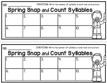 Snap and Count Syllables {Spring Edition}