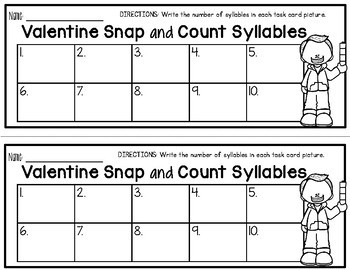 Snap and Count Syllables {Valentine Edition}