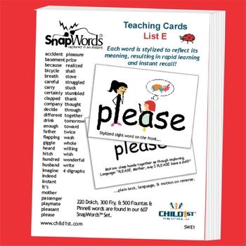 SnapWords® Sight Word List E Teaching Cards