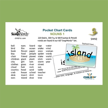 Snapwords 174 Sight Word Nouns List 1 Pocket Chart Cards By