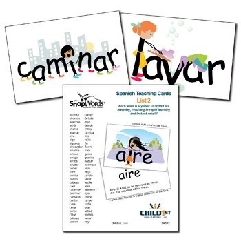 SnapWords® Spanish List 2 Teaching Cards