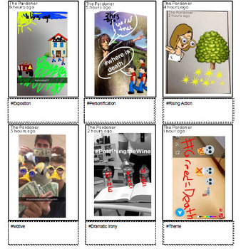 Social Media Stories Character Profile and Elements of Literature Activity