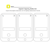 Snapchat Worksheet- Beginning, Middle, End