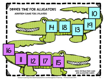 Snapping Alligator Addition Board Games