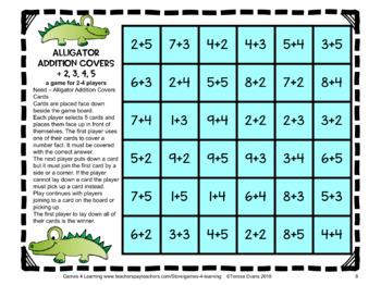 Alligator Addition Board Games: Addition Games: Addition Center Games
