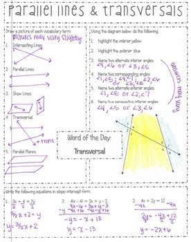 Snapshot - {Integrated Algebra 1 with Geometry}  - Parallel Lines & Transversals