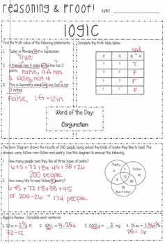 """Snapshot"" Logic & Proof {Integrated Geometry & Algebra 1 Daily Warmups}"