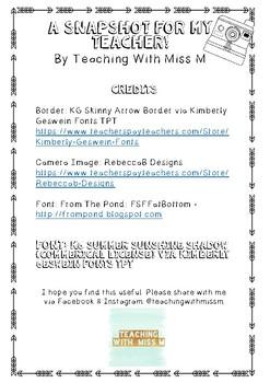 Snapshot for my new teacher! (Primary)