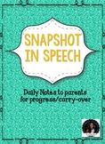 Snapshot in Speech Language Therapy Sessions: Slips/ Notes for parents