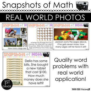 Snapshots of Math Word Problems 1st Grade Using Photos in Math ALL STANDARDS