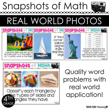 130 4th Grade Math Word Problems Using Photos in Math ALL STANDARDS TEST PREP