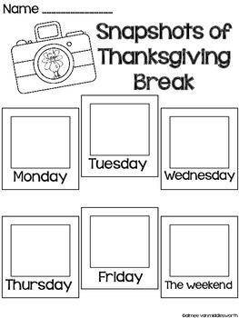 Snapshots of Thanksgiving Break Writing Activity FREEBIE