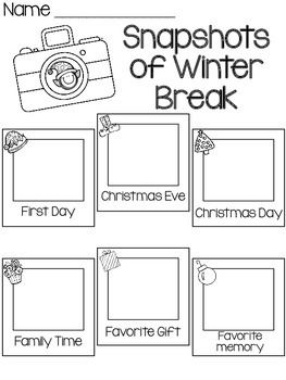 Snapshots of Winter Break- FREEBIE