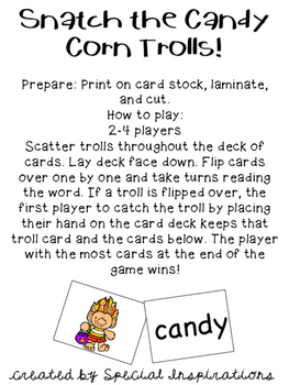Snatch the Candy Corn Trolls! (a y as a Vowel Game /e/) Orton-Gillingham