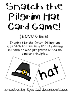 Snatch the Pilgrim Hat CVC Card Game! Orton-Gillingham Inspired