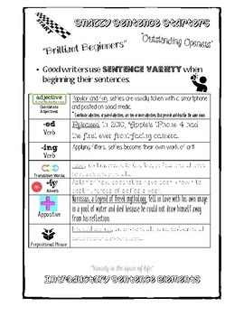 Snazzy Sentence Starters & Brilliant Beginners for Sentence Variety #selfie