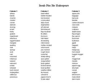 Sneak-Diss Like Shakespeare or Shakespeare Insults