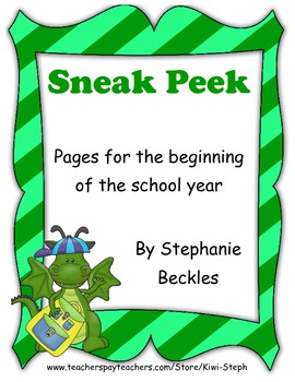 Sneak Peek - Pages for the Beginning of the School Year