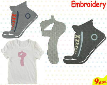Sneakers Ballet Shoes Embroidery Machine digital 4x4 5x7 hoop Stiches 85b