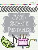 Sneaky E CVCE No Prep Printables