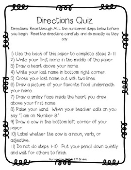 directions quiz by across the hall teachers pay teachers. Black Bedroom Furniture Sets. Home Design Ideas