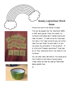 Sneaky Leprechaun Pre-Primer and Primer word cards