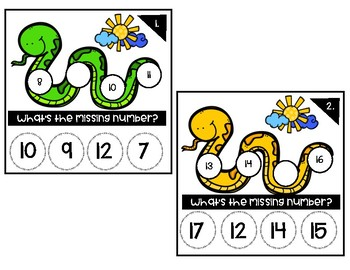 Sneaky Snake Missing Number Clip Cards