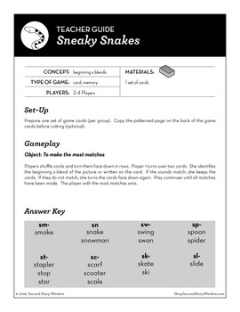 Sneaky Snakes Beginning S-Blends Phonics Game - Words Their Way Game