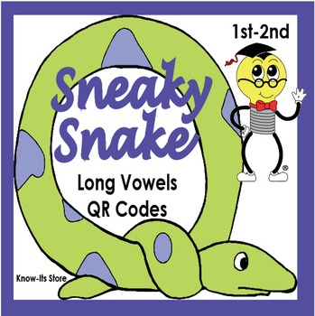 Sneaky Snakes Long Vowels Literacy Center (QR Codes or Answer Page)