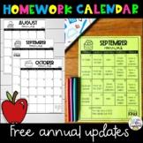 Editable Monthly Homework Calendar-Free Annual Updates