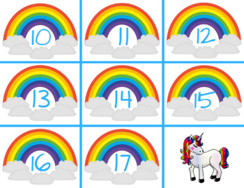 Sneaky Unicorn Number Identification Game, Rainbows, Math Center
