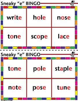 "Sneaky ""e"" BINGO!"