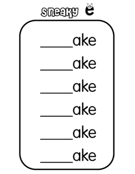 Sneaky e, Silent e, Bossy e activities and worksheets