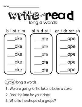 Words with silent e coloring pages ~ Sneaky e, Silent e, Bossy e worksheets by Broken Crayon | TpT