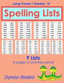 Spelling List BUNDLE - Sneaky e, Lists 1-9